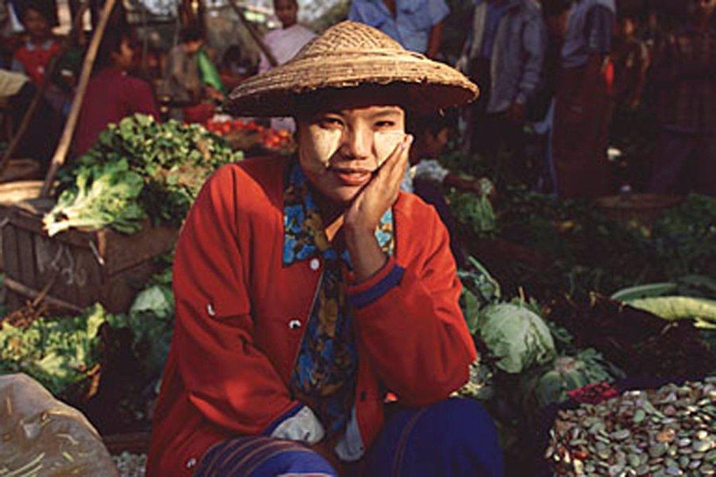 Myanmar (Burma), Sangaing, Vegetable seller at morning market. : Stock Photo