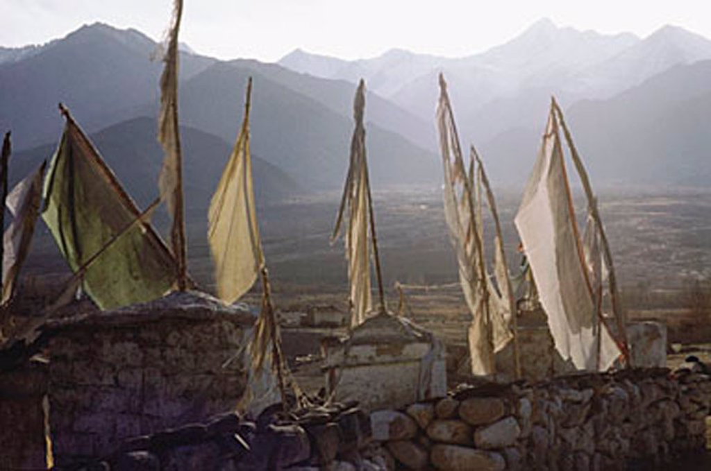 Stock Photo: 4065-14542 India, Northern India, Srinagar-Leh Road, Prayer flags at dawn, mountains at background.