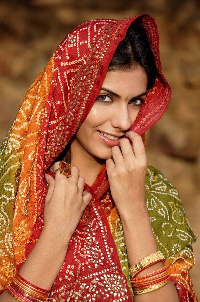 woman in sari : Stock Photo