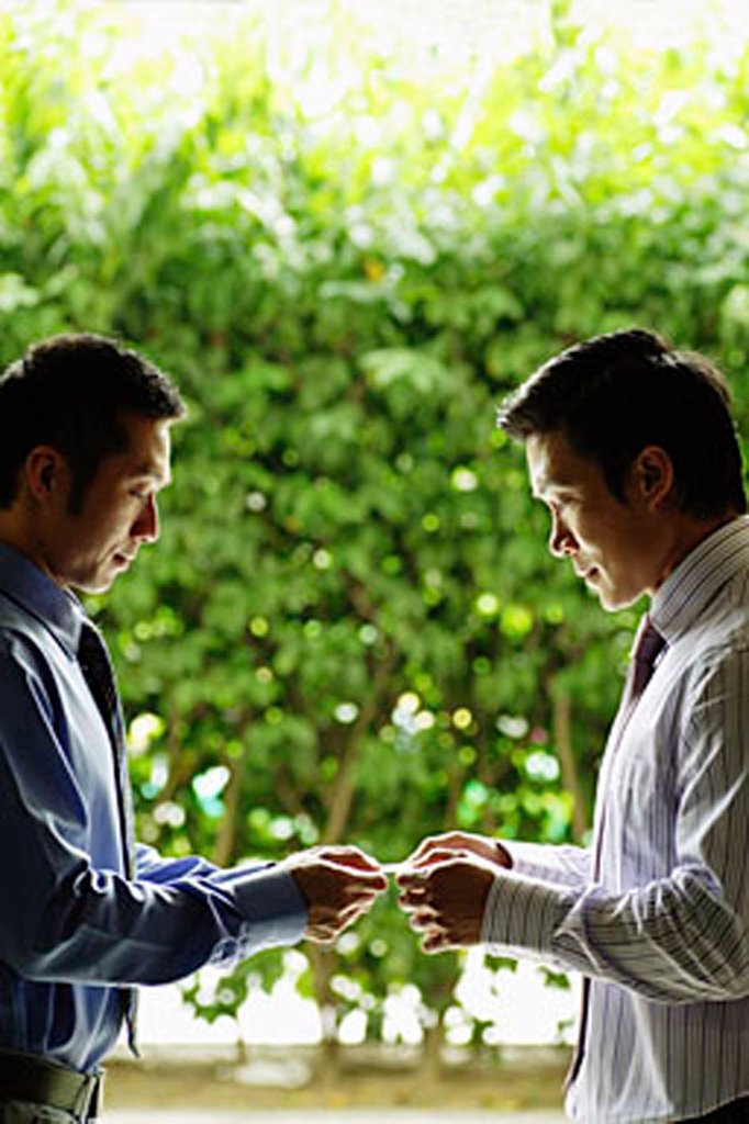 Two businessmen exchanging cards : Stock Photo