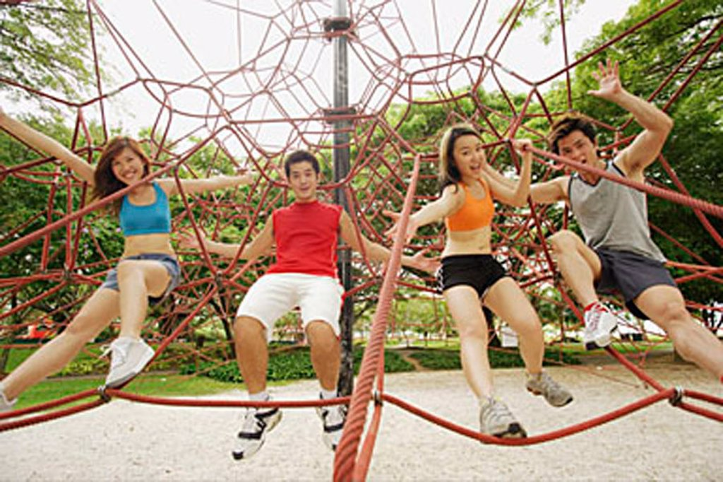 Two women and two men, holding on to rope on jungle gym, looking at camera : Stock Photo
