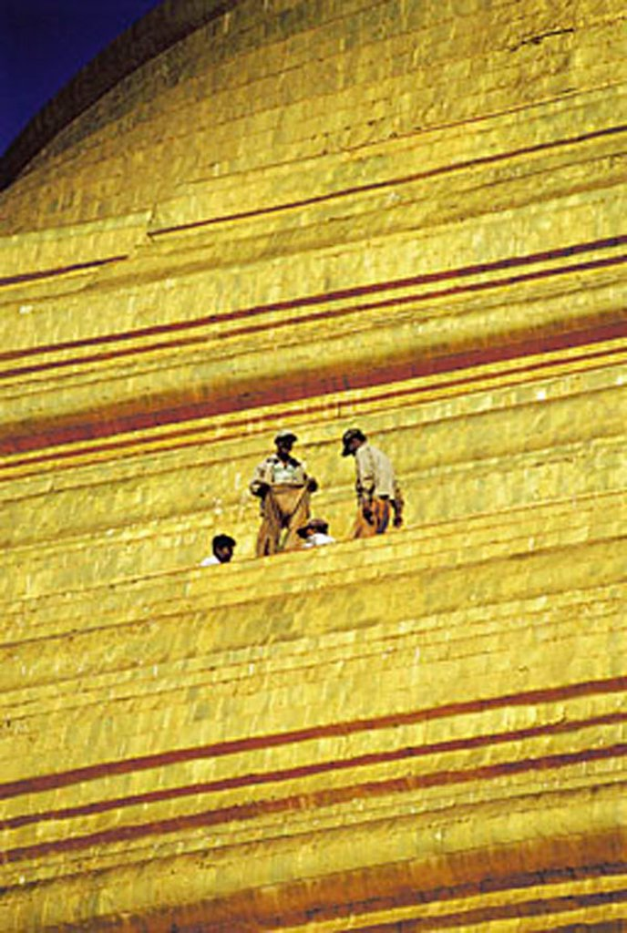 Stock Photo: 4065-19248 Myanmar (Burma), Yangon (Rangoon), people on the Shwedagon Pagoda