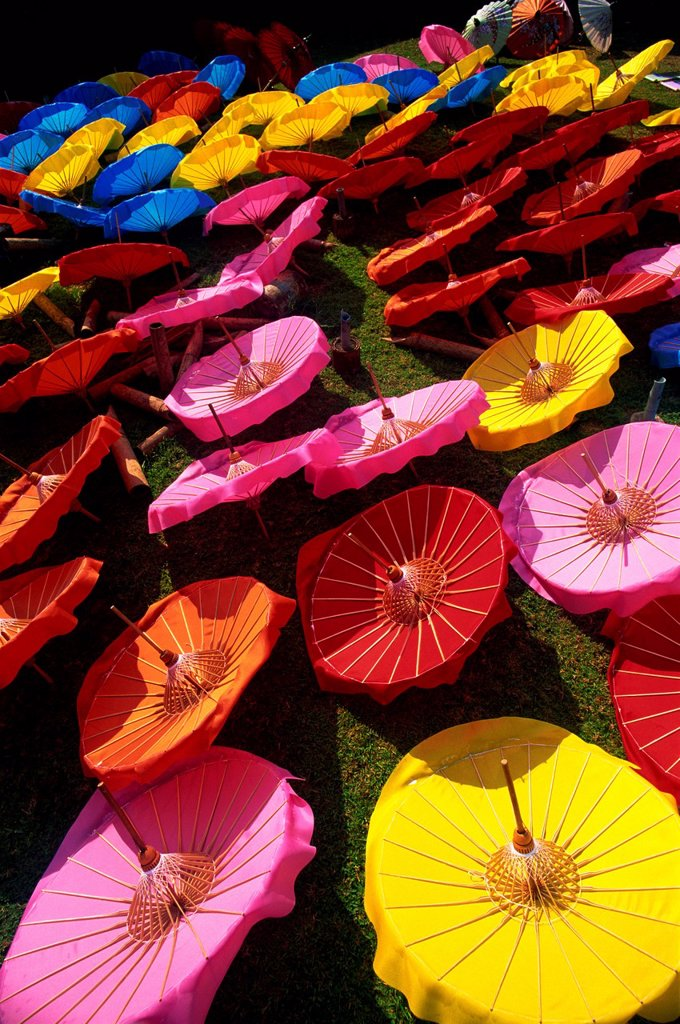 Thailand,Chiang Mai,Borsang Umbrella Village,Umbrellas : Stock Photo