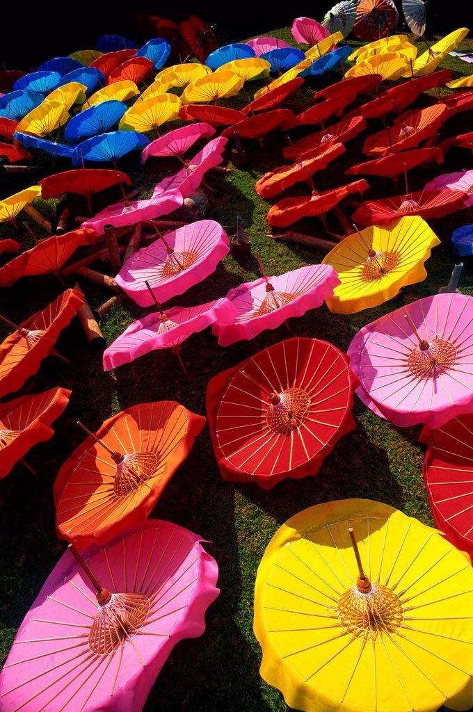 Stock Photo: 4065-20042 Thailand,Chiang Mai,Borsang Umbrella Village,Umbrellas