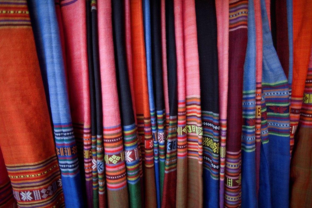 Stock Photo: 4065-20369 Vietnam,Hoi An,Silk Shop Fabric Display