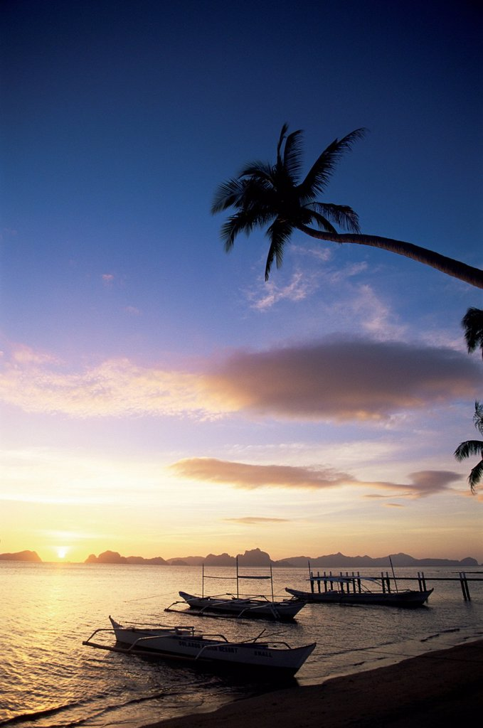 Philippines,Palawan,Bascuit Bay,El Nido,Outriggers on Tropical Beach at Sunset : Stock Photo