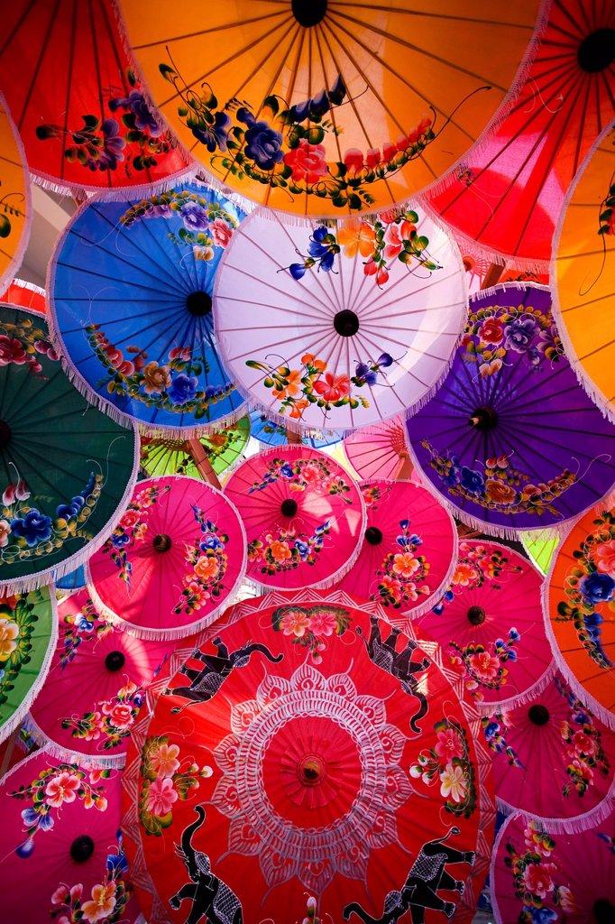 Thailand,Chiang Mai,Umbrella Display at Borsang Village : Stock Photo