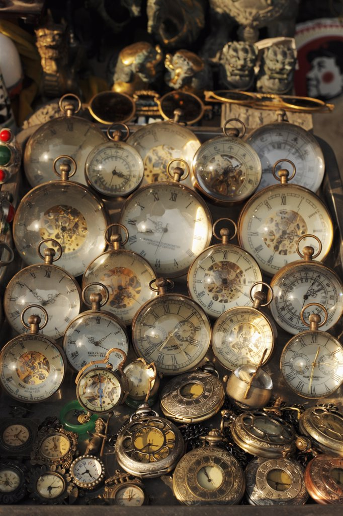 Stock Photo: 4065-20924 Antique watches for sale in market in Shanghai, China