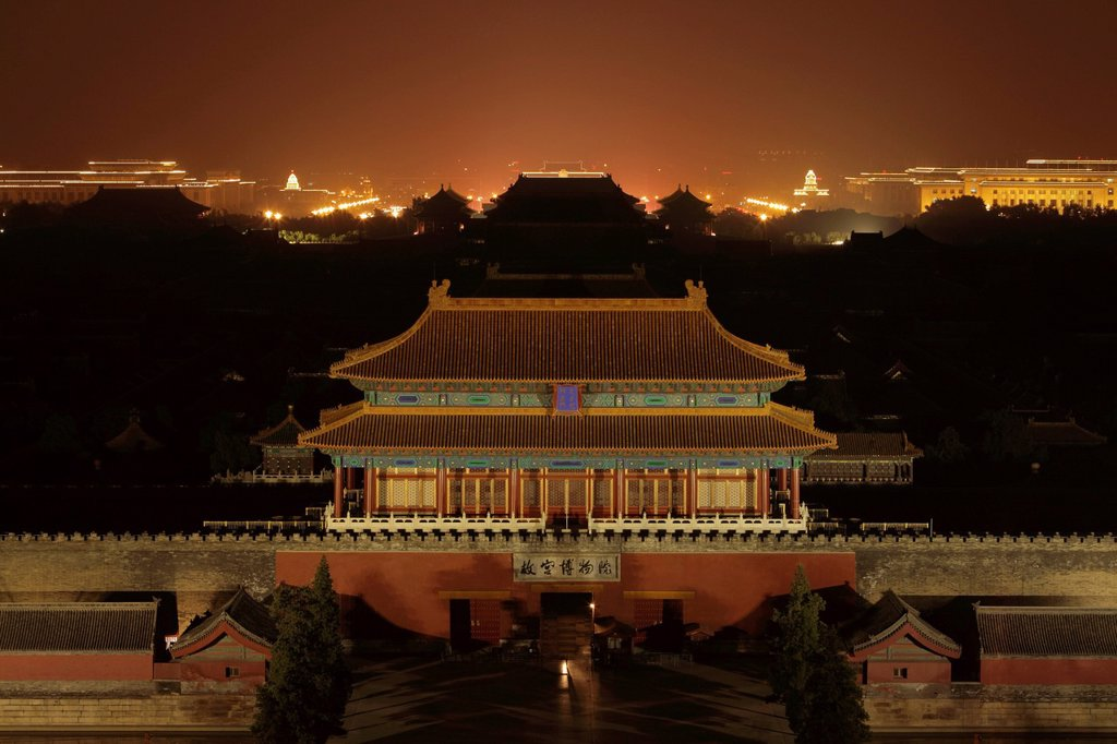 Stock Photo: 4065-22301 Aerial view of the Forbidden City at night