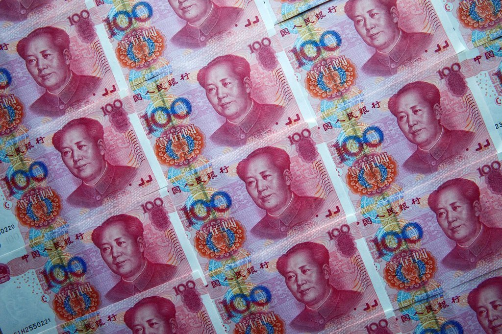 Chinese money, 100 Yuan notes. : Stock Photo