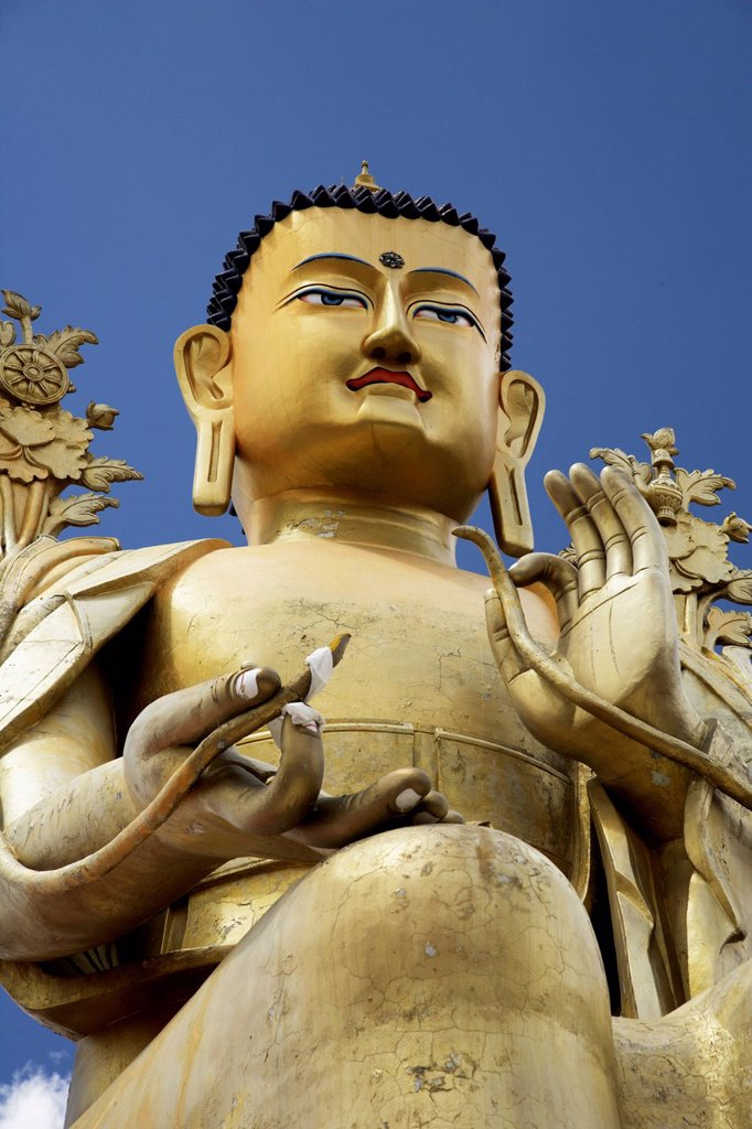 Stock Photo: 4065-22876 Close up of a statue of Maitreya Buddha, Klu_Kkhyil Monastery, Ladakh, India