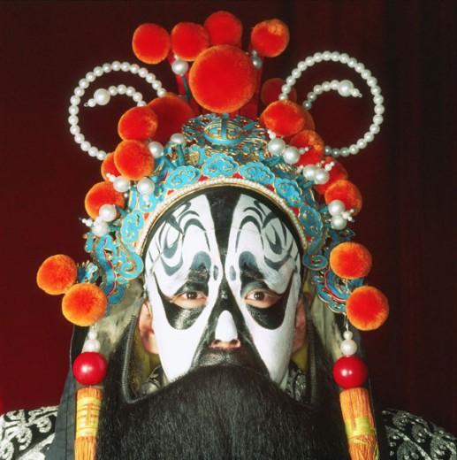 China, Beijing, Beijing opera performer in traditional costume : Stock Photo