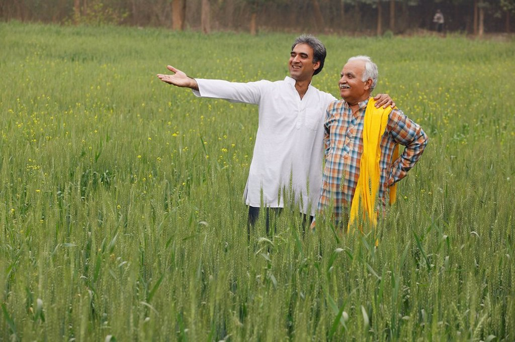 Stock Photo: 4065-2718 father and son farmers in field
