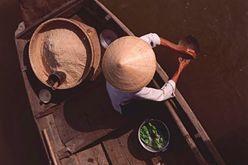 Stock Photo: 4065-3503 Vietnam, Can Tho, Hau river, Rice flour seller - floating market.