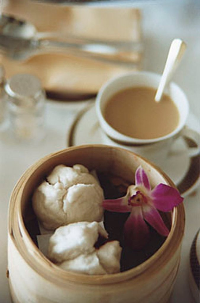 Chinese steamed char siew buns. : Stock Photo
