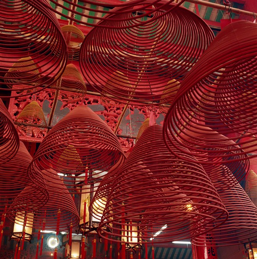 Spiral incense in Man Mo Temple, Central, Hong Kong : Stock Photo