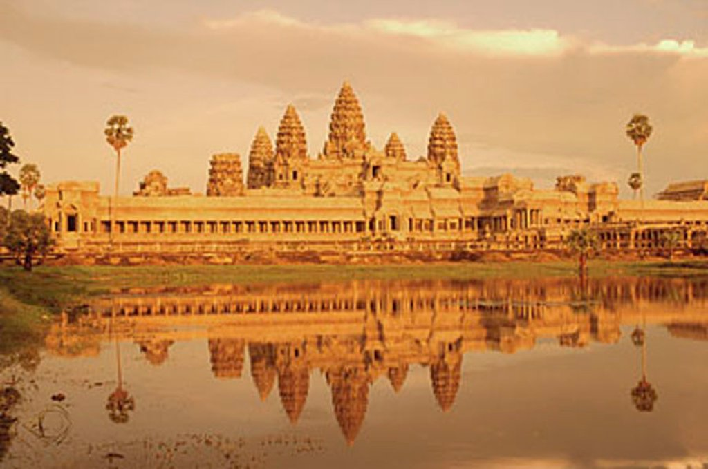 Cambodia, Angkor Wat by day with reflection : Stock Photo