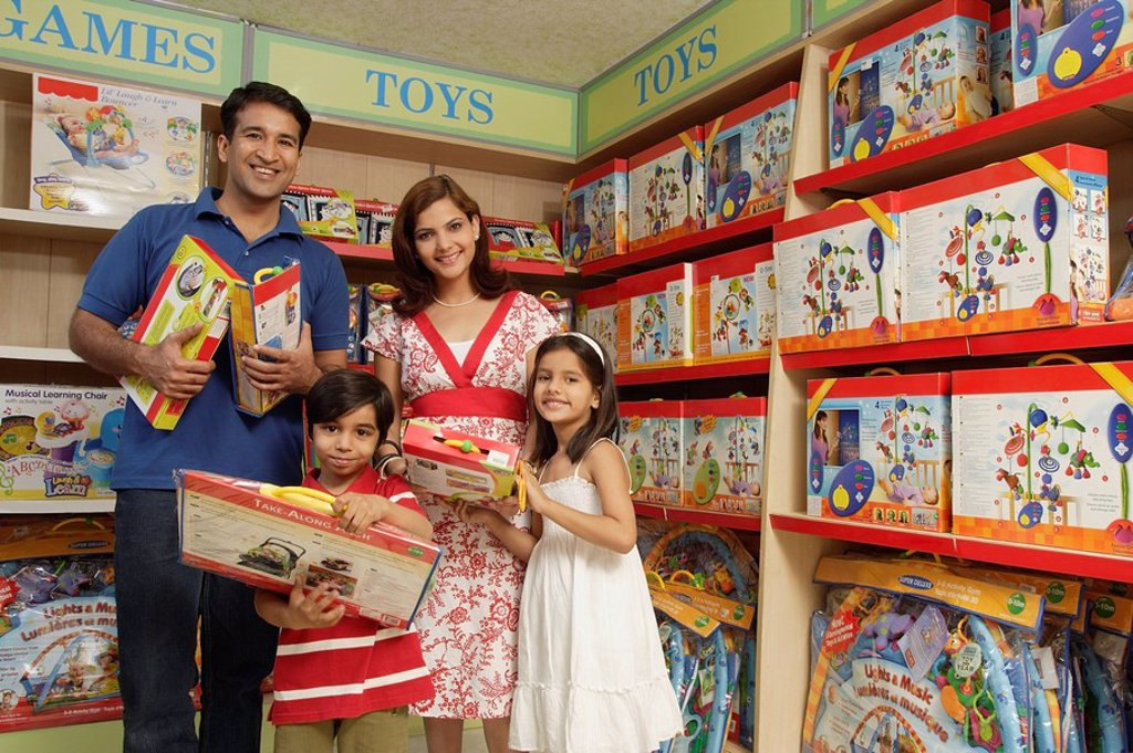 family shopping for toys : Stock Photo