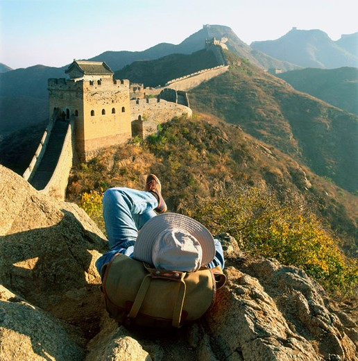 Stock Photo: 4065-8639 China, near Beijing, The Great Wall, Jinshanling, section of the Great Wall, tourist in foreground