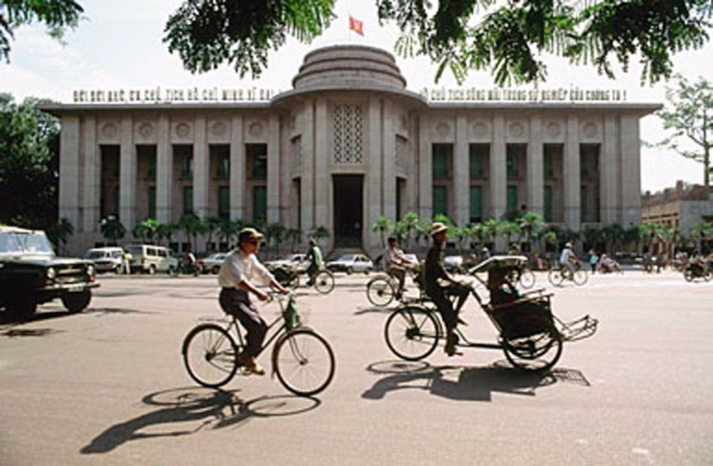 Stock Photo: 4065-9700 Vietnam, Hanoi, traffic in front of Foreign Trade Bank
