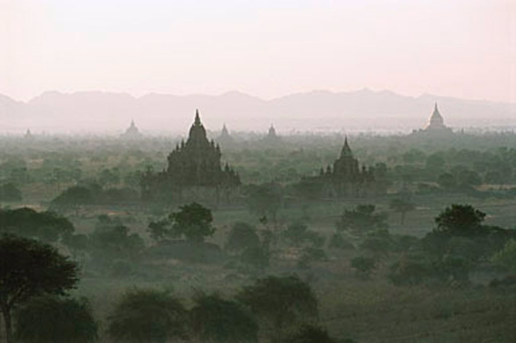 Myanmar (Burma), Bagan, Temples of Bagan shrouded by mist : Stock Photo