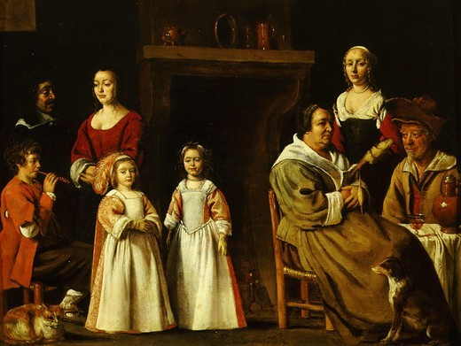 Portraits in an interior, 1647 : Stock Photo