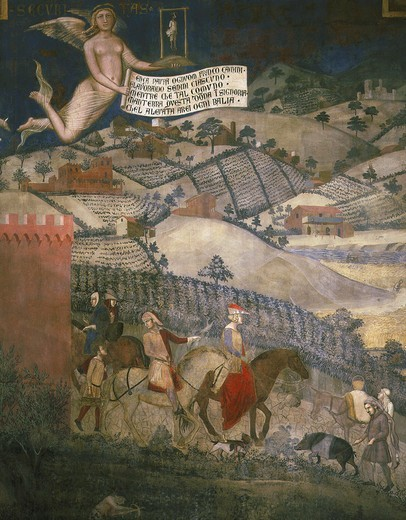 Stock Photo: 4069-1072 Effects of good government in the country, fresco (1338-40)