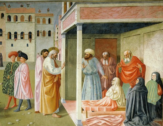 Stock Photo: 4069-1091 Saint PETER and resurrection of Tabitha, from Brancacci Chapel, fresco