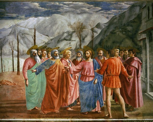 Tribute Money with Jesus Christ, Saint Thomas (right) apostles and tribute collector, from Brancacci Chapel, fresco : Stock Photo