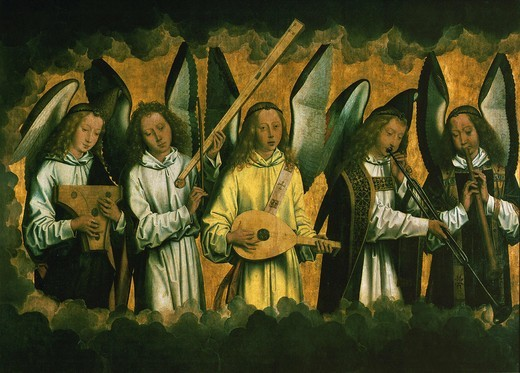 Stock Photo: 4069-1106 Five angels playing music, lefthand panel from a triptych, c. 1480