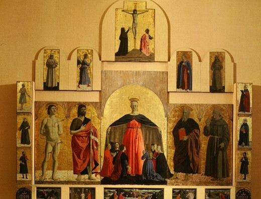 Polyptych of the Misericordia with Saints Sebastian, John, Dominic, Anthony, Benedict, Francis, Bonaventura, Job : Stock Photo