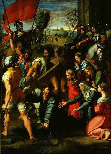 Stock Photo: 4069-1199 The way to Calvary, Christ falls while carrying cross, 1517