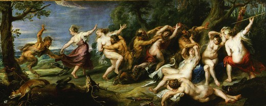 Diana and her nymphs surprised by satyrs, c. 1638-40 : Stock Photo