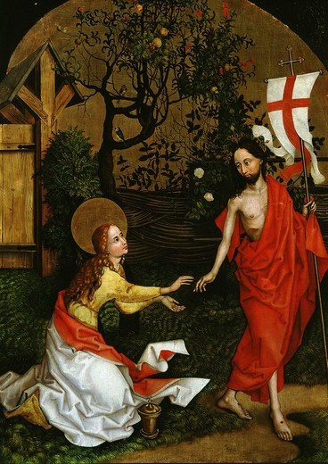 Dominican Altarpiece Noli me Tangere, risen Christ appears to Mary Magdalene, 1470-80 : Stock Photo