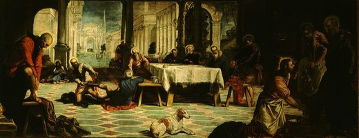 The Washing of the feet with blessing of Host, c. 1547 : Stock Photo