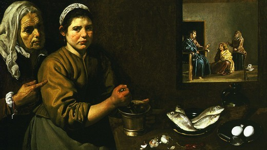 Stock Photo: 4069-1319 Christ in the house of Martha and Mary, sisters of Lazarus, c. 1618