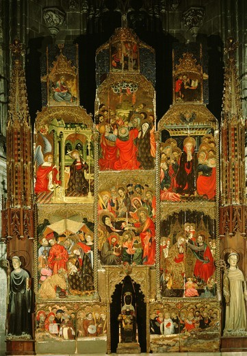 Altarpiece with scenes from life of Christ and Virgin, 15th century : Stock Photo