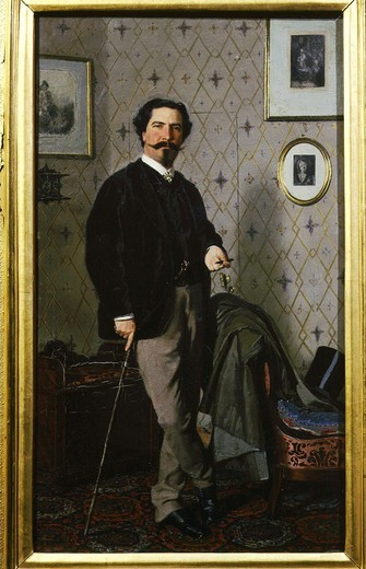 Stock Photo: 4069-1485 Cristiano BANTI, 1824-1904 Italian artist, standing with cigarette by chair