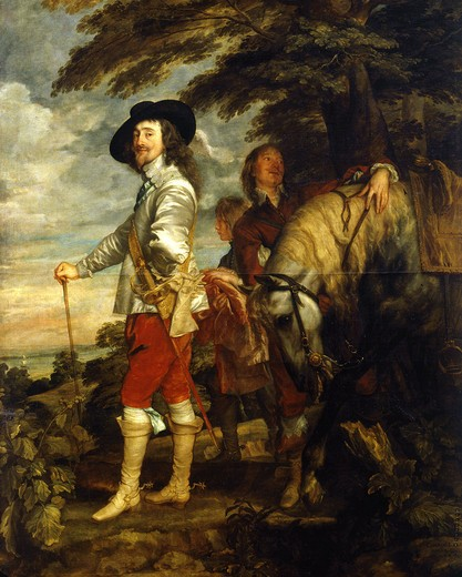 CHARLES I, 1600-49, King of England, at the hunt : Stock Photo