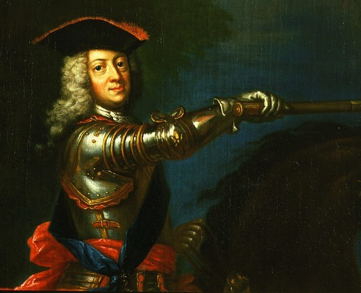 Stock Photo: 4069-1697 GEORGE I of England, 1660-1727, first Hanoverian king of Great Britain, 1714-27, detail