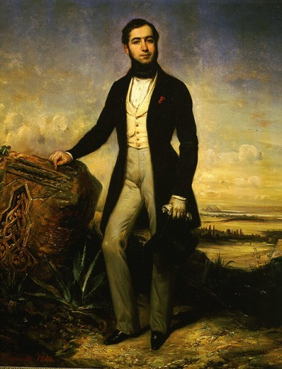 Stock Photo: 4069-1806 Ferdinand de LESSEPS (1805-94), French diplomat & canal promoter & engineer, constructed the Suez Canal, painted with view of Suez Canal