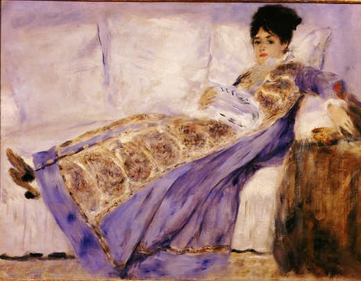 Mme Camille MONET Ätendue sur un sofa, Camille Monet, wife of Impressionist painter Claude Monet, lying on a sofa, c. 1874. Painted during a visit to the Monet family in Argenteuil : Stock Photo