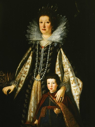 Stock Photo: 4069-1872 Marie Madeleine of Austria with her son Ferdinand II of Medici 1610-70