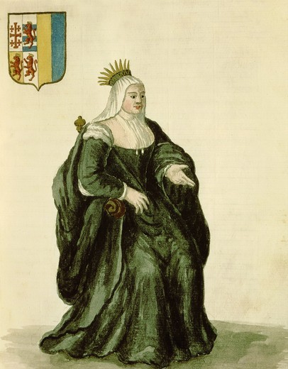 Stock Photo: 4069-2117 Caterina CORNARO, 1454-1510 Venetian-born Queen of Cyprus, watercolour