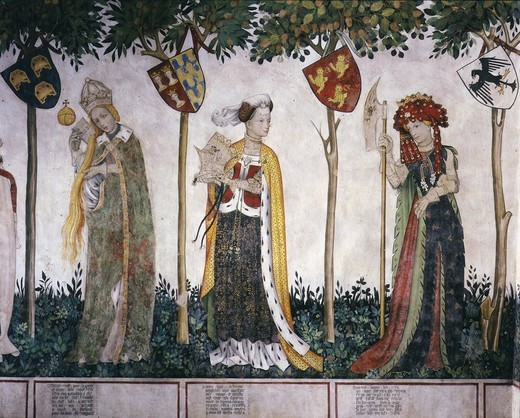 Stock Photo: 4069-2165 Medieval clothing, 14th-15th century fresco International Gothic, Baronial Hall, Castle of the Princes of Saluzzo