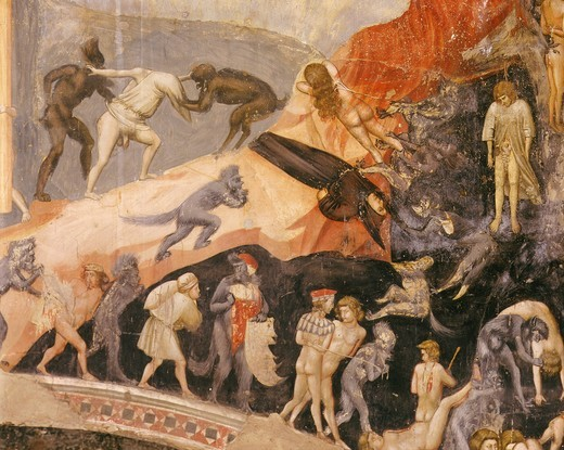 Hell from Last Judgement fresco detail : Stock Photo