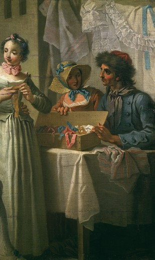 Le marchand de rubans (the ribbon seller, painted as fragment to include in cartoon for Gobelins tapestry of his picture Une foire de village, or A village fair) : Stock Photo