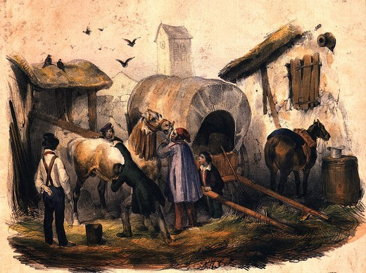 Stock Photo: 4069-2249 Hitching up a cart in a farmyard, France, c. 1845 engraving