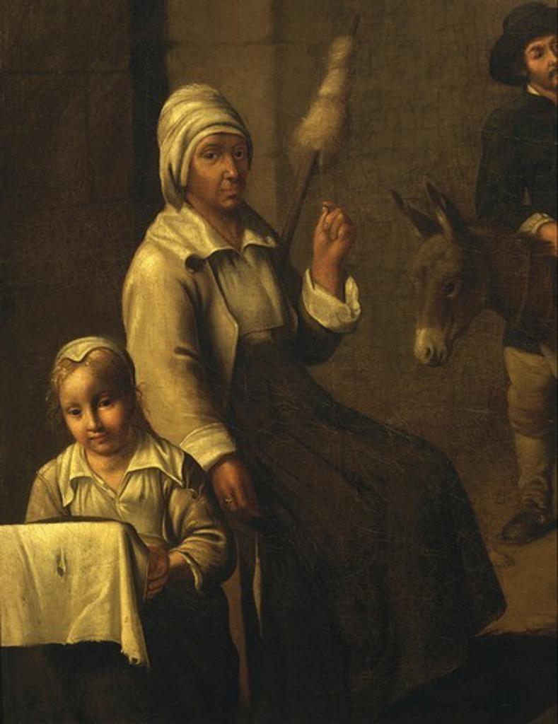 Stock Photo: 4069-2267 Woman with distaff, from ScÅne de paysans ou le dÄnicheur d'oiseau (peasant scene or the bird's-nester) (detail)