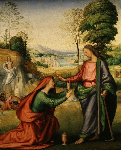 Stock Photo: 4069-2288 Noli me tangere, risen Christ appears to Mary Magdalene, (on left, Resurrection of Christ